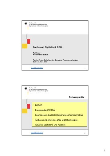 Sachstand Digitalfunk BOS Schwerpunkte - Deutscher ...