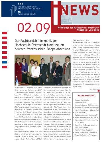 Der Fachbereich Informatik der Hochschule Darmstadt bietet neuen ...