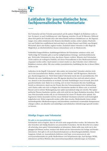 Leitfaden für Volontäre - Deutscher Fachjournalisten-Verband