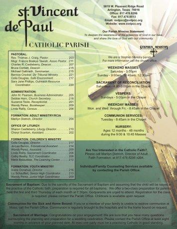 817-561-1707 - St. Vincent de Paul Catholic Community
