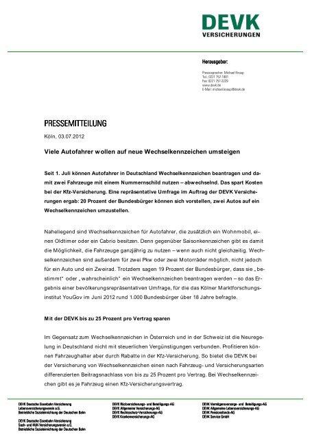 Pressemitteilung Pressemitteilung Devk Versicherungen