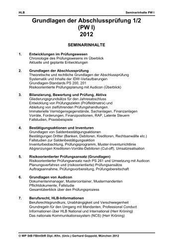 Grundlagen der Abschlussprüfung 1/2 (PW I) 2012