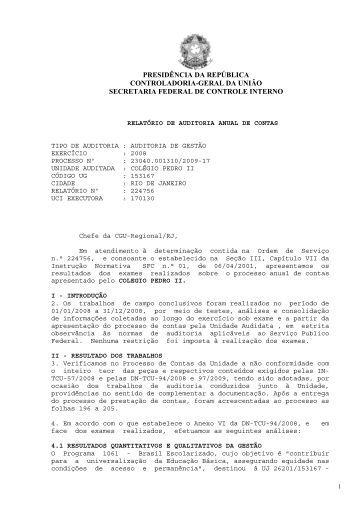 Relatório de Auditoria Exercício 2008 - Colégio Pedro II