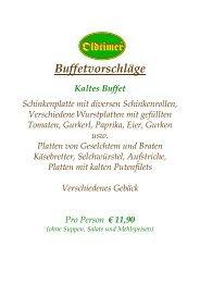 Mehlspeisenbuffet pro Person € 2,30 Suppenbuffet pro ... - Oldtimer