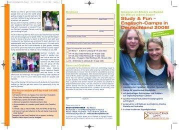 Study & Fun – Englisch-Camps in Deutschland 2008! - Deutschpartner