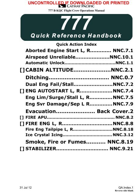 777 Quick Reference Handbook - Index of