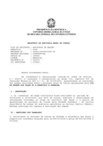 Exercício 2008 - Controladoria-Geral da União