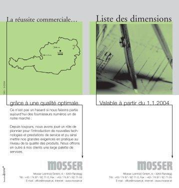 Liste des dimensions