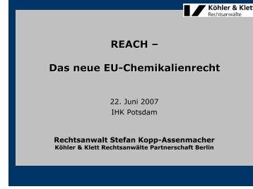REACH - Grundlagen - IHK Potsdam