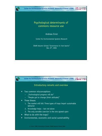 Psychological determinants of commons resource use