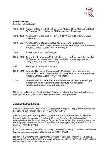 Curriculum Vitae Dr. med. Thomas Lange 1996 – 1998 Arzt im ...