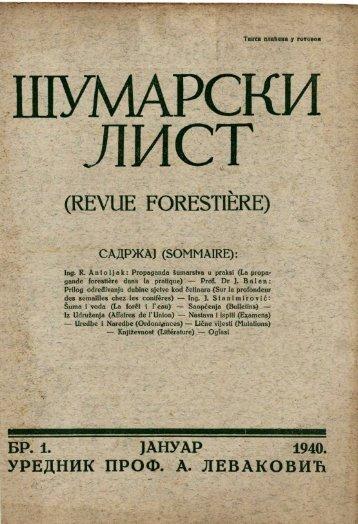 (revue forestiere) садржај (sommaire)