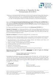 Ausschreibung von Stipendien für das Wintersemester 2012/2013