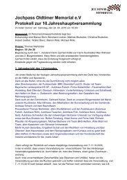 Jochpass Oldtimer Memorial e.V Protokoll zur 10 ...