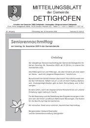 Seniorennachmittag - Gemeinde Dettighofen