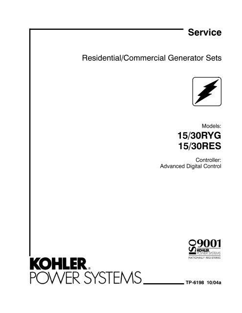 15/30RYG 15/30RES Service - Kohler Power on standby generator wiring diagram, kohler steam generator parts, kohler steam generator installation, generator transfer switch wiring diagram, kohler steam generator manual,