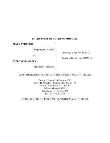 IN THE SUPREME COURT OF MISSOURI MARY ETHRIDGE ...