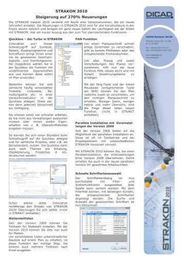 STRAKON 2010 neue Funktionen - DICAD Systeme GmbH