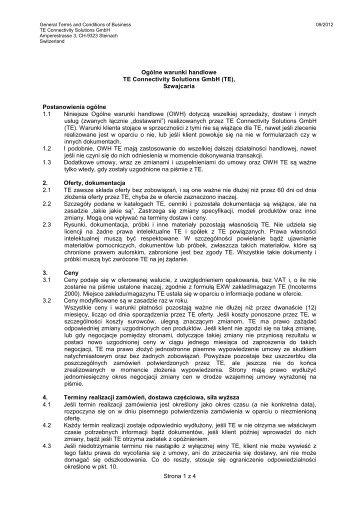 Strona 1 z 4 Ogólne warunki handlowe TE Connectivity Solutions ...