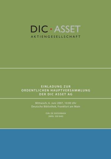 DAZ Einladung HV - DIC Asset AG