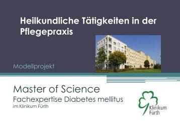 Modellprojekt Master of Science Fachexpertise Diabetes mellitus