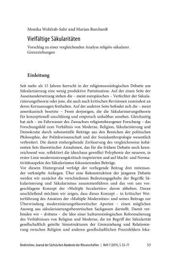 Vielfältige Säkularitäten - Max Planck Institute for the Study of ...