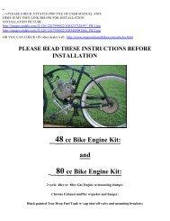YuanDong SkyHawk Engine Parts Kit - Motorized Bicycle Canada