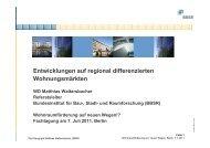 Entwicklungen auf regional differenzierten Wohnungsmärkten