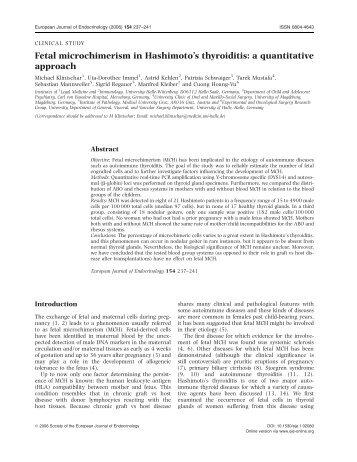 Fetal microchimerism in Hashimoto's thyroiditis - European Journal ...