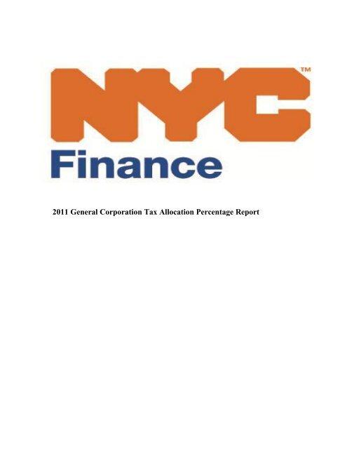 2011 General Corporation Tax Allocation Percentage Nyc Gov