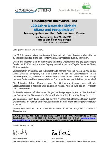"""""""20 Jahre Deutsche Einheit - Bilanz und Perspektiven"""" - LPM"""