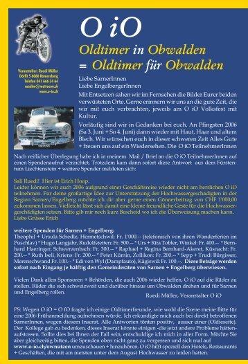 Oldtimer in Obwalden = Oldtimer für Obwalden - O-iO