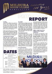 Newsletter #6 – September 2012 - Mildura Senior College