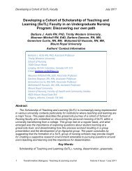 Developing a Cohort of Scholarship of Teaching and Learning (SoTL)