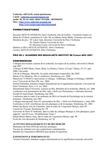 Curriculum Vitae - Ateliers Ouverts