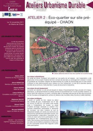 ATELIER 2 : Éco-quartier sur site pré - Pays de Grande Sologne