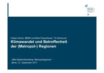 Klimawandel und Betroffenheit der (Metropol)Regionen