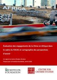 Évaluation des engagements de la Chine en Afrique dans le cadre ...