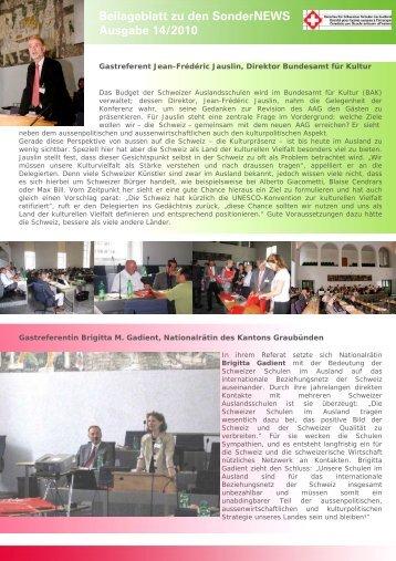 Beilageblatt zu den SonderNEWS Ausgabe 14/2010 - educationsuisse