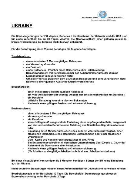 Ukraine nach einladung visum deutschland Wie verfasse