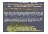 8th IAG International Conference on Geomorphology, August 2013