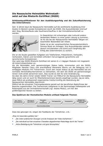 Bericht zum Rhetorik-Zertifikat