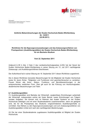 Eignungsvoraussetzungen - DHBW Karlsruhe