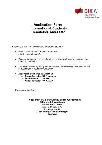 Application Form International Students -Academic Semester-