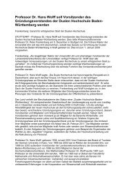 Professor Dr. Hans Wolff soll Vorsitzender des ... - DHBW Ravensburg