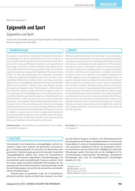 Epigenetik und Sport - DGSP
