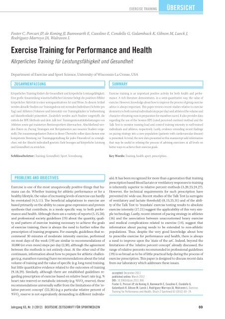 Exercise Training for performance and Health - DGSP