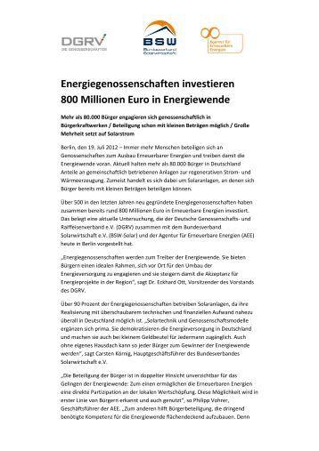 Energiegenossenschaften investieren 800 Millionen Euro in ...