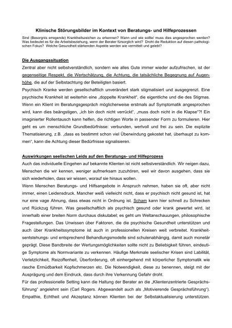 Klinische Störungsbilder im Kontext von Beratungs - Diakonie Leipzig