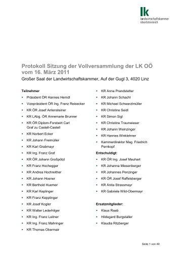 Protokoll Sitzung der Vollversammlung der LK OÖ vom 16. März 2011